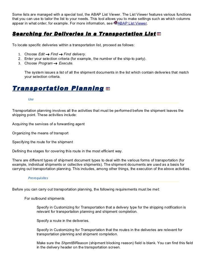 SAP - Transportation Module Study material