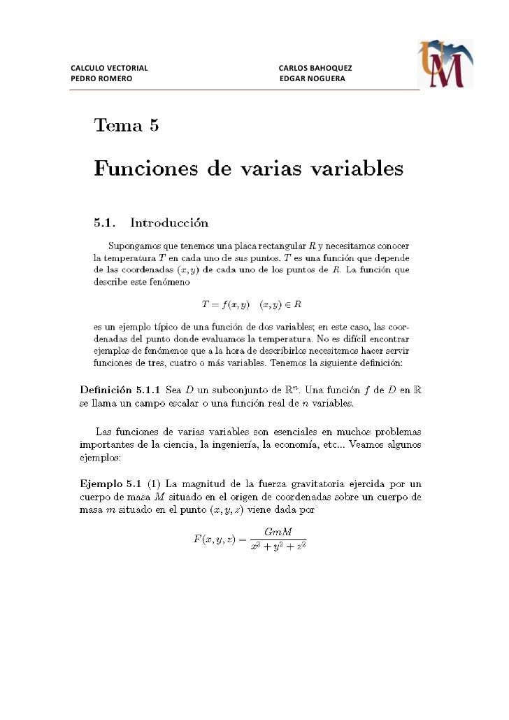 8. FUNCION DE VARIAS VARIABLES