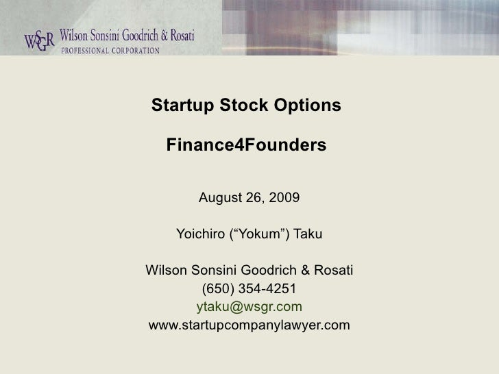 Startup stock options