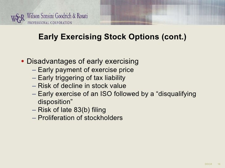 Exercising stock options startup