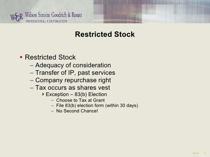 83 b election nonstatutory stock options