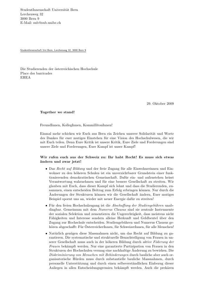 StudentInnenschaft Universität Bern Lerchenweg 32 3000 Bern 9 E-Mail: sub@sub.unibe.ch     StudentInnenschaft Uni Bern, Le...