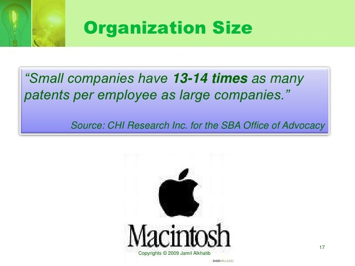 """Organization Size  """"Small companies have 13-14 times as many patents per employee as large companies.""""        Source: CHI ..."""