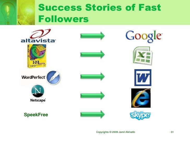Success Stories of Fast      Followers     SpeekFree                  Copyrights © 2009 Jamil Alkhatib   31