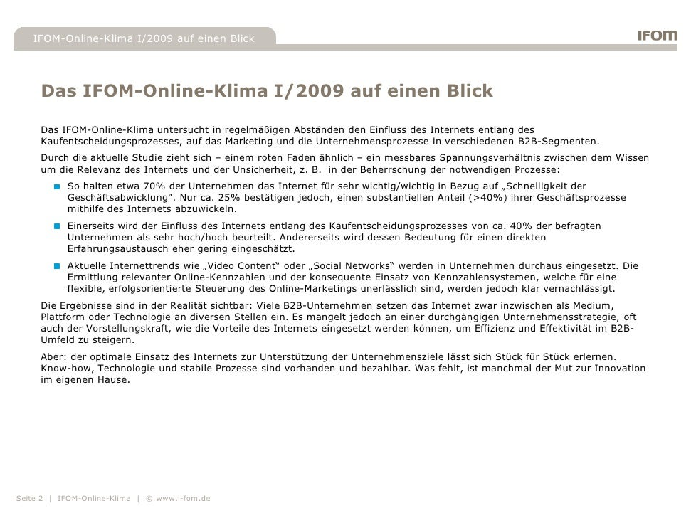 """Highlights der B2B-Studie """"IFOM-Online-Klima"""" I/2009 Slide 2"""
