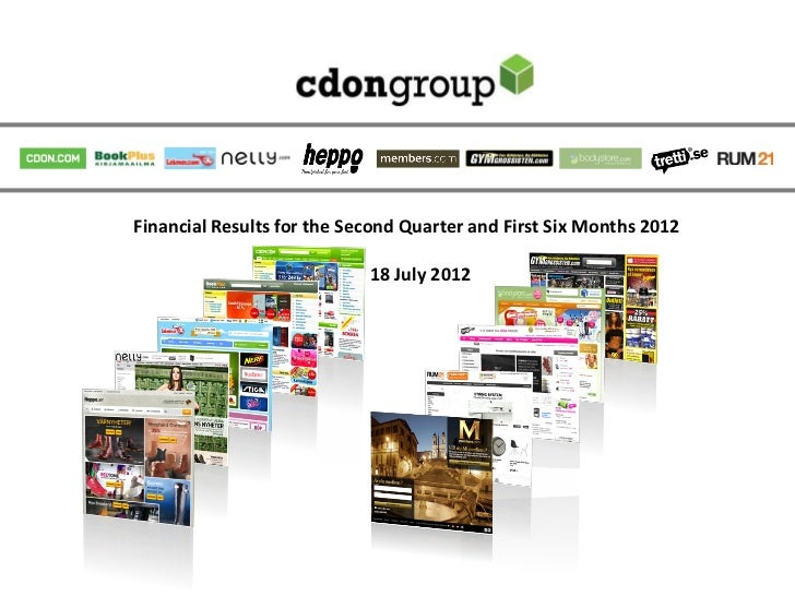 Financial Results for the Second Quarter and First Six Months 2012                            18 July 2012