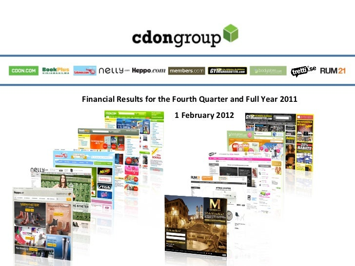 Financial Results for the Fourth Quarter and Full Year 2011                                           ...