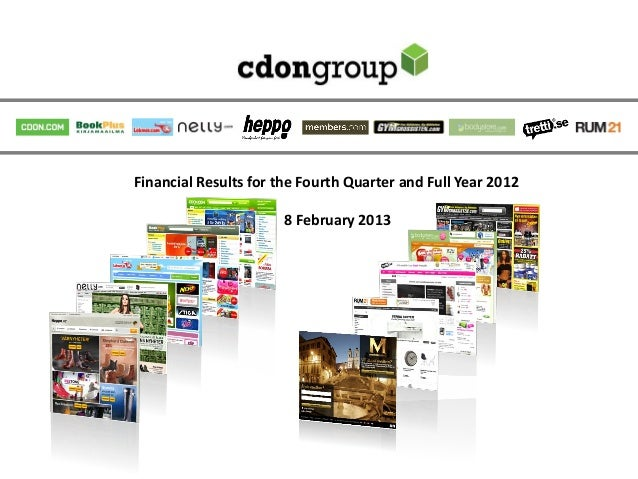 Financial Results for the Fourth Quarter and Full Year 2012                       8 February 2013