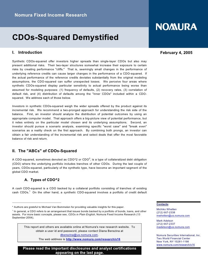 Nomura Fixed Income Research    CDOs-Squared Demystified I. Introduction                                                  ...