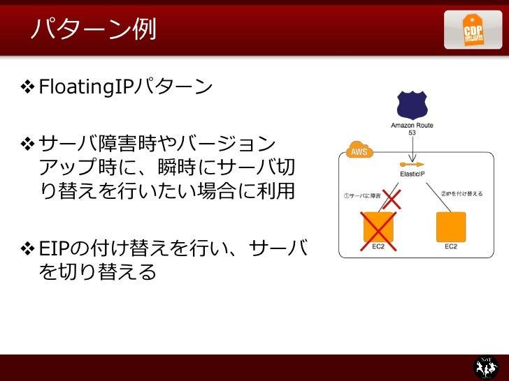例: Clone Serverパターン                   ロードバランサ       Web          Web         Web     仮想             マスタ     サーバ           ...