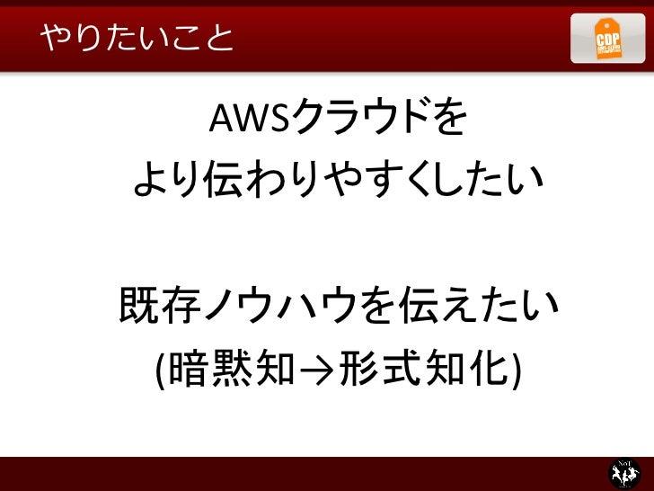 やりたいこと    AWSクラウドを  より伝わりやすくしたい  既存ノウハウを伝えたい   (暗黙知→形式知化)