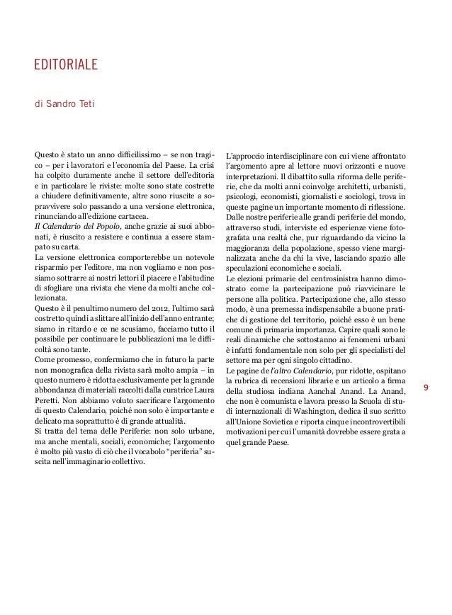 9  editoriale  di Sandro Teti  Questo è stato un anno difficilissimo – se non tragi-co  – per i lavoratori e l'economia de...