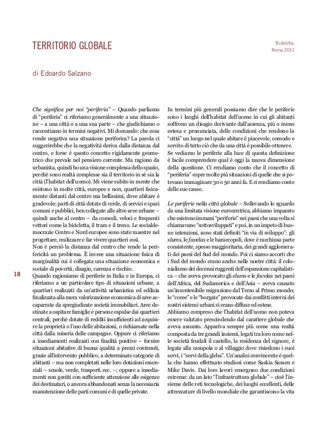 """18  territorio globale  di Edoardo Salzano  Che significa per noi """"periferia"""" – Quando parliamo  di """"periferia"""" ci riferia..."""