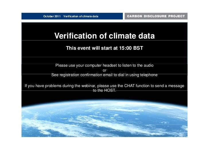 October 2011   Verification of climate data                 Verification of climate data                          This eve...