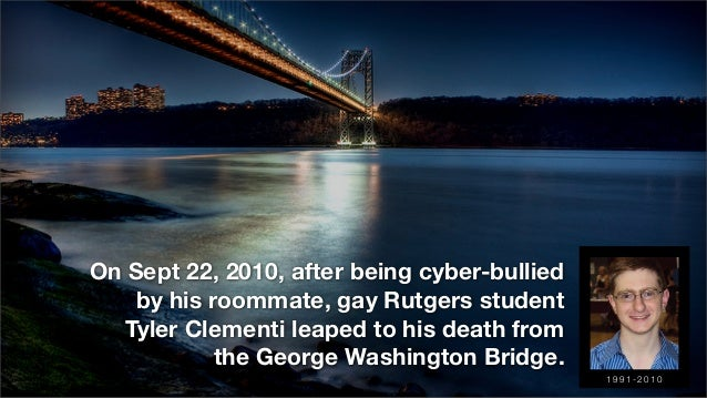 On Sept 22, 2010, after being cyber-bullied by his roommate, gay Rutgers student Tyler Clementi leaped to his death from t...