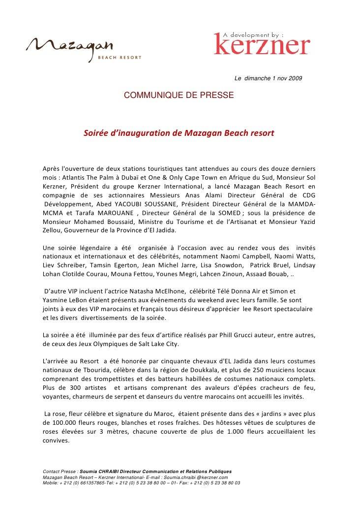 Le dimanche 1 nov 2009                                       COMMUNIQUE DE PRESSE                      Soirée d'inaugurati...