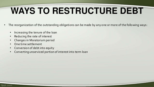corporate debt restructuring Debt restructuring services: vfa's goal is to provide value-added corporate  finance services to companies in need of capital restructuring we will work with  our.