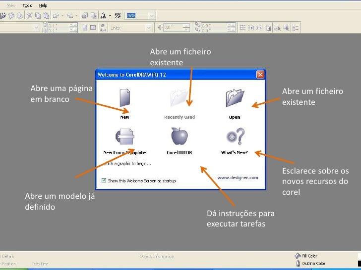 Abre um ficheiro existente<br />Abre uma página em branco<br />Abre um ficheiro existente<br />Esclarece sobre os novos re...