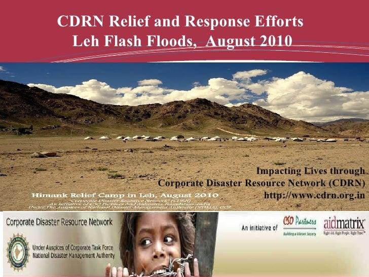 CDRN Response for Flash Floods Relief Work in Leh, Jammu & Kashmir, India