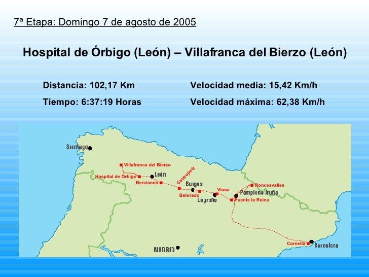 7ª Etapa: Domingo 7 de agosto de 2005 Distancia: 102,17 Km Velocidad media: 15,42 Km/h Tiempo: 6:37:19 Horas Velocidad máx...
