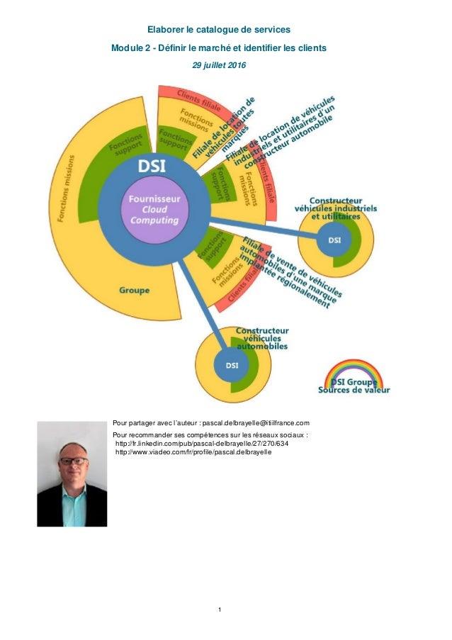 Elaborer le catalogue de services Module 2 - Définir le marché et identifier les clients 29 juillet 2016 Pour partager ave...