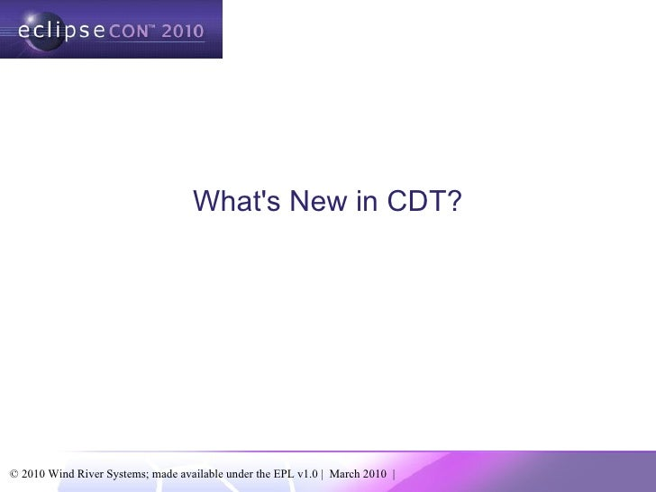 What's New in CDT?
