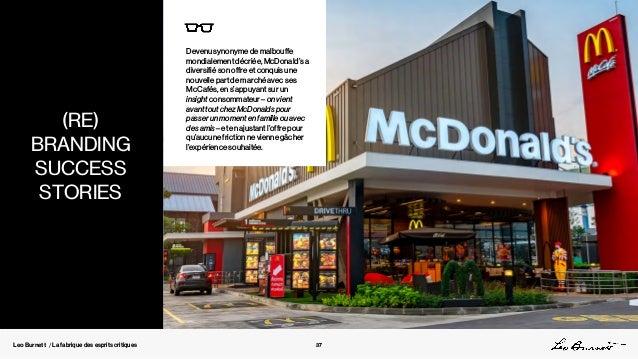 Leo Burnett / La fabrique des esprits critiques Devenu synonyme de malbouffe mondialement décriée, McDonald's a diversifié...