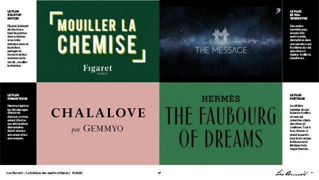 Leo Burnett / La fabrique des esprits critiques / 10.2020 47 LEPLUS START UP NATION Figaret, fabricant de chemises haut de...