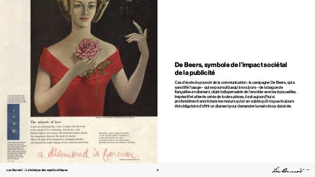 Leo Burnett / La fabrique des esprits critiques De Beers, symbole de l'impact sociétal de la publicité Cas d'école du pouv...