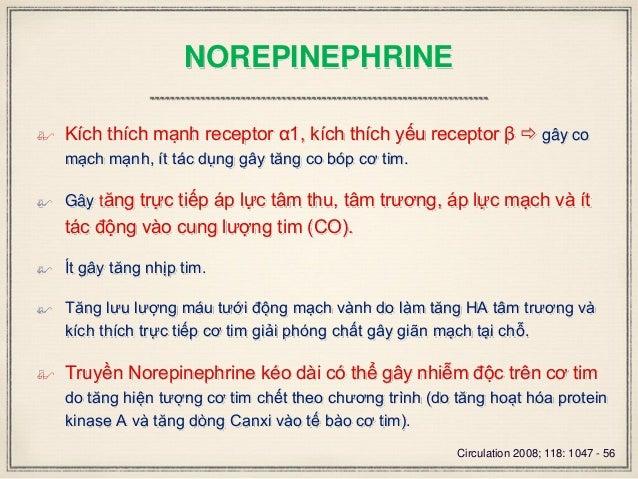 NOREPINEPHRINE  Kích thích mạnh receptor α1, kích thích yếu receptor β  gây co mạch mạnh, ít tác dụng gây tăng co bóp cơ...