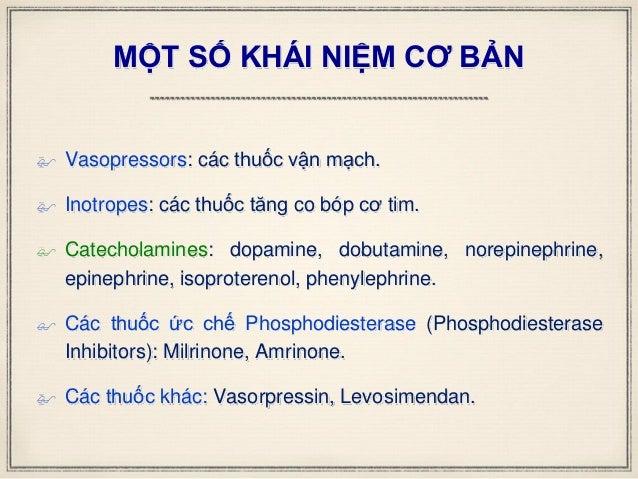 MỘT SỐ KHÁI NIỆM CƠ BẢN  Vasopressors: các thuốc vận mạch.  Inotropes: các thuốc tăng co bóp cơ tim.  Catecholamines: d...
