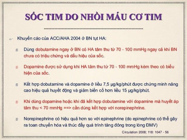 SỐC TIM DO NHỒI MÁU CƠ TIM  Khuyến cáo của ACC/AHA 2004 ở BN tụt HA:  Dùng dobutamine ngay ở BN có HA tâm thu từ 70 - 10...