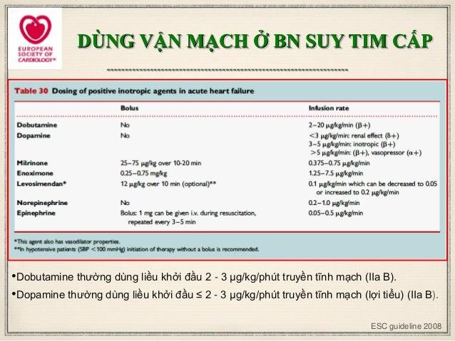 ESC guideline 2008 •Dobutamine thường dùng liều khởi đầu 2 - 3 μg/kg/phút truyền tĩnh mạch (IIa B). •Dopamine thường dùng ...