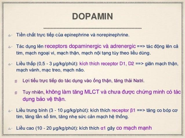 DOPAMIN  Tiền chất trực tiếp của epinephrine và norepinephrine.  Tác dụng lên receptors dopaminergic và adrenergic ==> t...