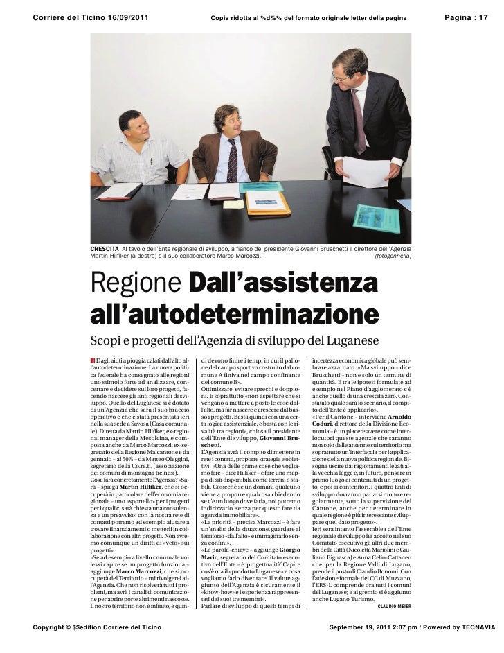 Corriere del Ticino 16/09/2011              Copia ridotta al %d%% del formato originale letter della pagina        Pagina ...