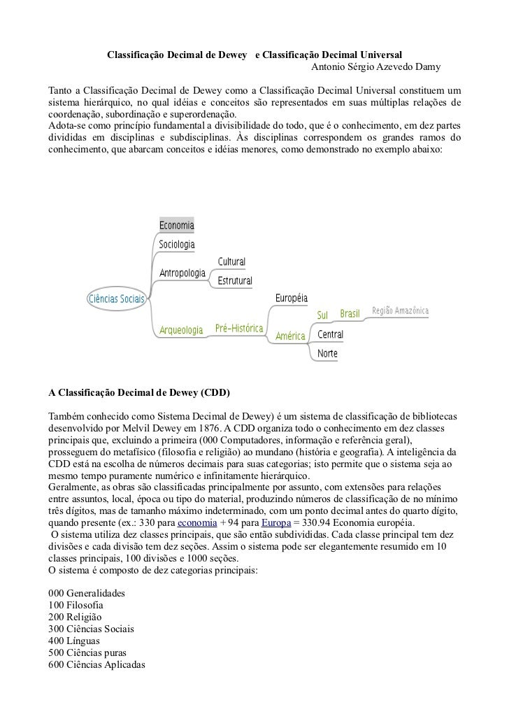 Classificação Decimal de Dewey e Classificação Decimal Universal                                                          ...
