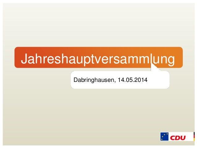 Jahreshauptversammlung Dabringhausen, 14.05.2014