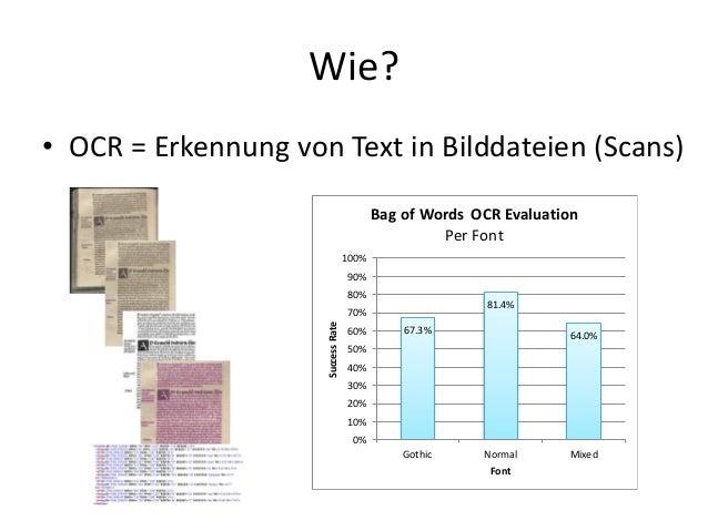 Wie? • OCR = Erkennung von Text in Bilddateien (Scans) 67.3% 81.4% 64.0% 0% 10% 20% 30% 40% 50% 60% 70% 80% 90% 100% Gothi...