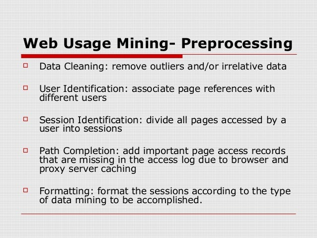 web usage mining Abstract this paper shows how web usage mining can be applied in e-learning systems in order to predict the marks that university students will obtain in the final exam of.