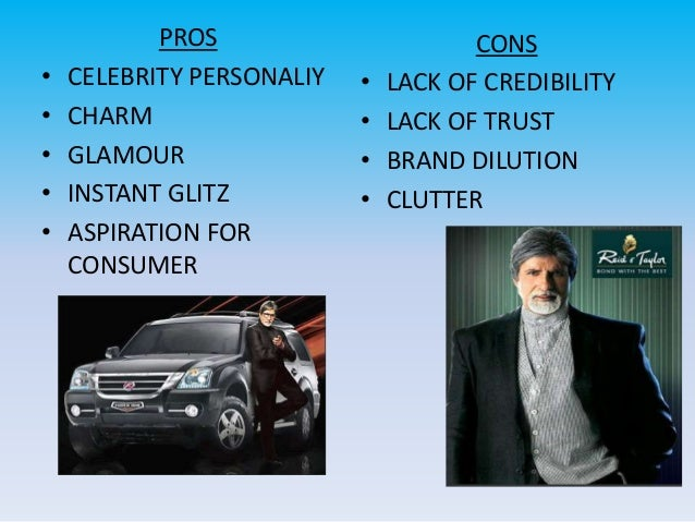 Pros and cons of celebrity in advertising