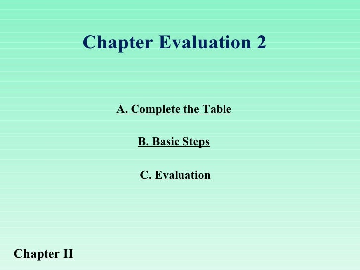 A. Complete the Table C. Evaluation B. Basic Steps Chapter Evaluation 2  Chapter II