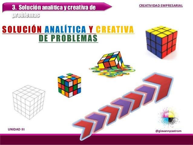 SOLUCIÓN ANALÍTICA Y CREATIVA DE PROBLEMAS @giovannycastrom UNIDAD III 3. Solución analítica y creativa de problemas CREAT...