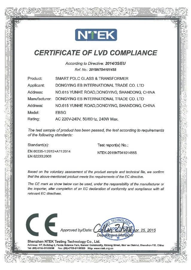 CE LVD CERTIFICATE EB GLASS SMART PDLC GLASS & TRANSFORMER