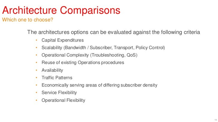 Architecture ComparisonsWhich one to choose?         The architectures options can be evaluated against the following crit...