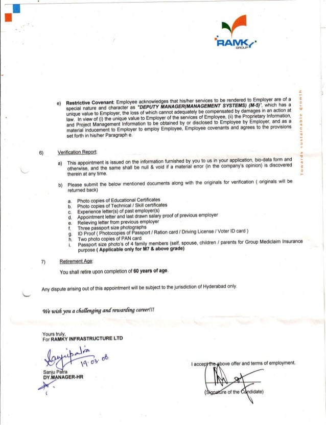 Ramky appointment conformation letter 3 c altavistaventures Choice Image