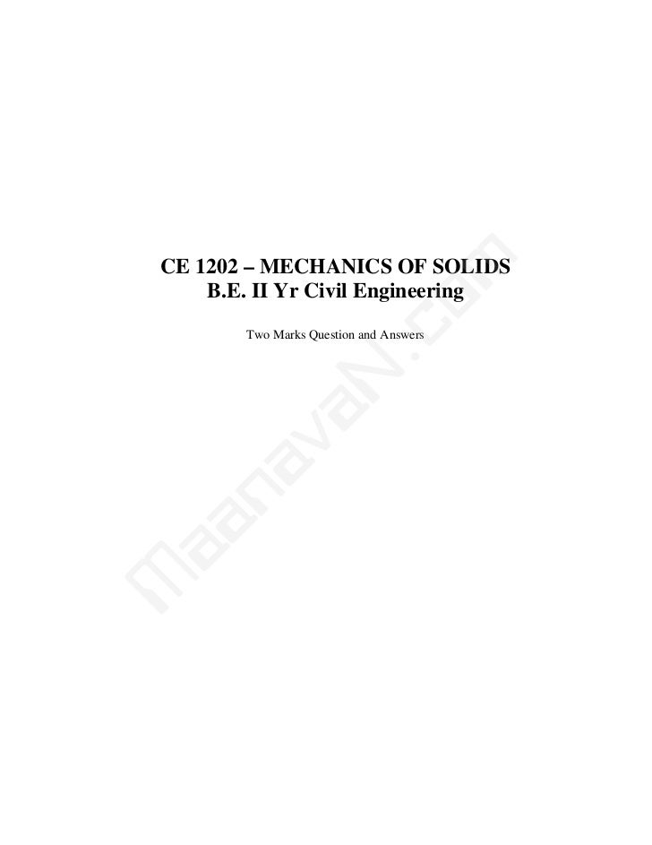 mCE 1202 – MECHANICS OF SOLIDS    B.E. II Yr Civil Engineering                   co       Two Marks Question and Answers  ...