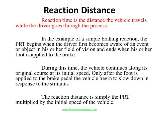 Distance Vehicle Travels From Time The Brake Is Applied