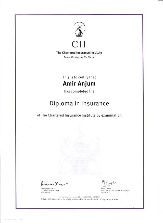 diploma in insurance diploma in insurance cii the chartered lnsurance lnstitute potron her majesty the queen this is to certify that amir