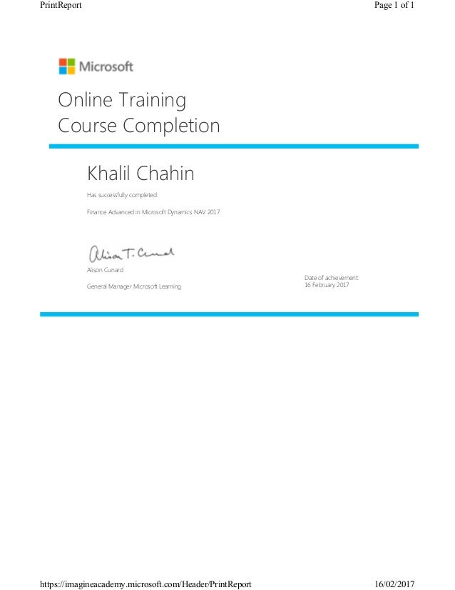 Microsoft Dynamics Nav 2017 Finance Advanced Certificate Khalil Chahin