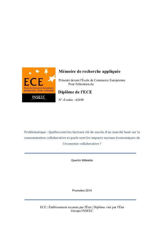 Mémoire de recherche appliquée Présenté devant l'École de Commerce Européenne Pour l'obtention du Diplôme de l'ECE N° d'or...
